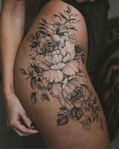 50 Tempting And Attractive High Thigh Floral Tattoo Designs For You - Page 14 of 50 - Chic Hostess