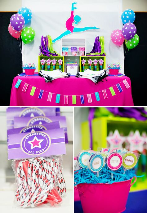 Bright & Coloful Gymnastics Birthday Party