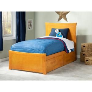 Atlantic Furniture Metro Twin Xl Platform Bed With Matching Foot Board With 2 Urban Bed Drawers In Caramel Ar9016117 The Home Depot Twin Platform Bed Atlantic Furniture Bed With Drawers