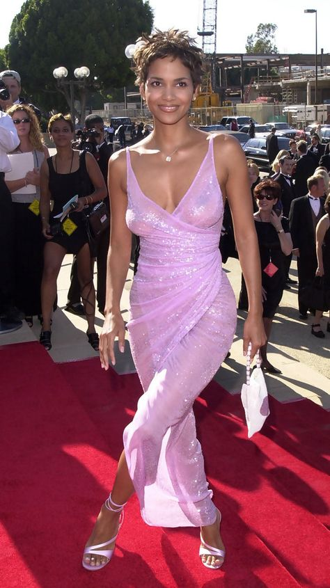 Halle Berry Evening Dress - Halle Berry shimmered in a pale pink evening dress and her signature pixie & at the Creative Arts Awards.