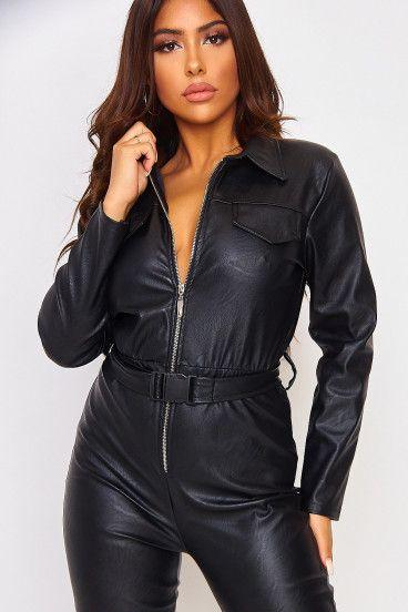 wwp Combinaison en Similicuir pour Femme en Cuir sans Manches Zipper Party Black