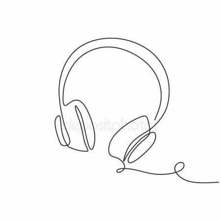 One Continuous Line Drawing Headphones Music Theme Vector Illustration Minimalis Ad Drawing Head Continuous Line Drawing Line Drawing Minimalist Drawing