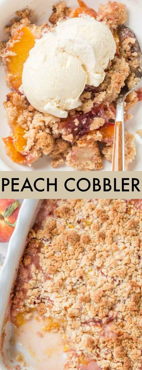 Sharing an Easy Peach Cobbler Recipe the whole family will love. Slices of fresh peaches under a cake-like crumble baked and served with fresh ice cream. This is the ultimate treat during peach season. #valentinascorner #peachcobbler #cobbler #peach #cobblerrecipe