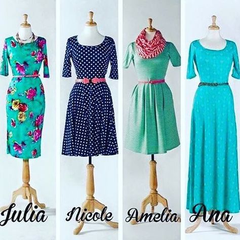 I was trying to decide which style dress was the most flattering, but I love each one for different reasons. Anyone have a favorite? #LulaRoe #lularoejulia #lularoeana #lularoenicole #lularoeamelia #instafashion #instyle #fashiongram #ootd #sahm #workfashion