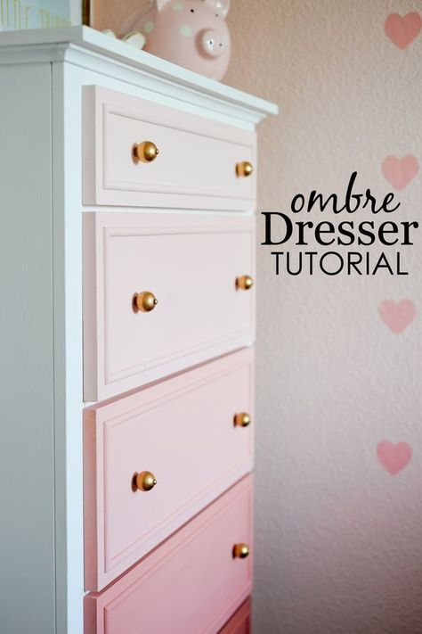 DIY Chalk Paint Furniture Ideas With Step By Step Tutorials - Chalk Paint Ombre Dresser - How To Make Distressed Furniture for Creative Home Decor Projects on A Budget - Perfect for Vintage Kitchen, (Diy Furniture On A Budget)