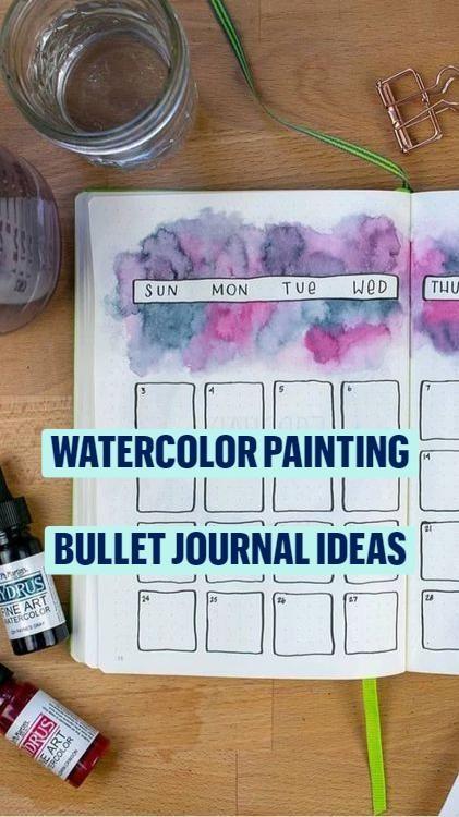 Watercolor Painting Bullet Journal Spread