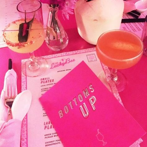 The Prettiest Pink Restaurants In NYC - new york city - Travel & Restaurants Restaurants For Birthdays, Fun Restaurants In Nyc, Pink Restaurant, Restaurant New York, Pink Bar, Downtown New York, Nyc Girl, New York City Travel, Food Places