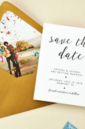 Save The Date Card With Photo Envelope Liner Envelope Liners Wedding Save The Date Cards Save The Date Wording