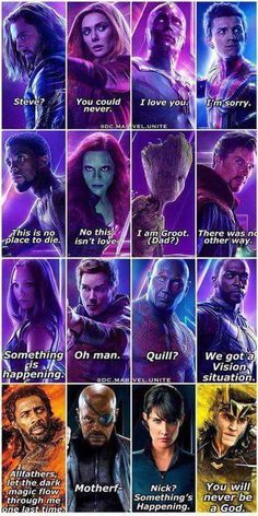 - Last words. -> but i believe gamora said NOOOO as her last words as she was falling