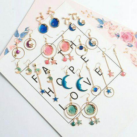 e830525ca Planet Moon Star Earrings (10 Styles) | Jewelry, Shoes & Accessories in  2019 | Jewelry, Star earrings, Dangle earrings