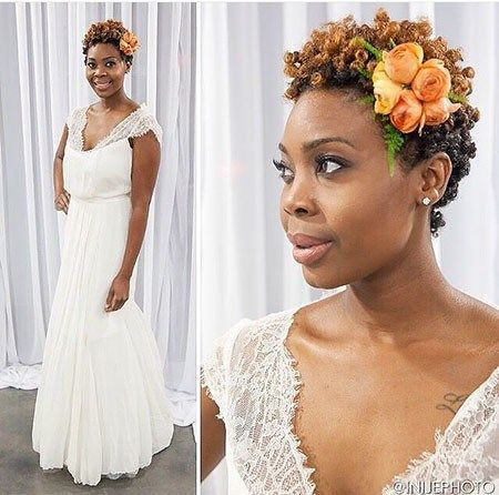 19 Short Afro Wedding Hairtyles 609 Bridal Hairstyles For Short Haircut Short Natural Hair Styles Natural Hair Wedding Short Wedding Hair