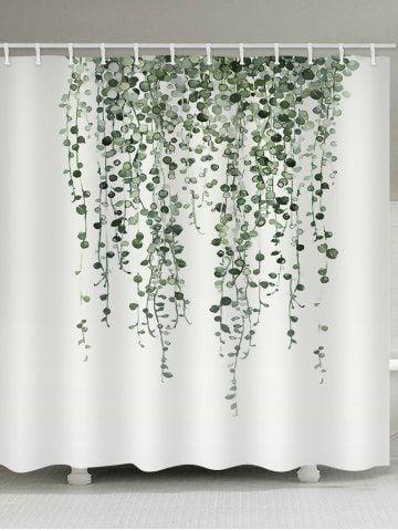 vine plant print waterproof bathroom