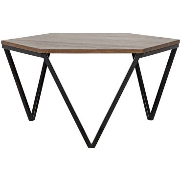 Hexagon Coffee Table Walnut And Metal Hexagon Coffee Table