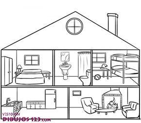 Partes de la casa en inglés con dibujos para colorear Imagui House colouring pages Coloring pages House drawing