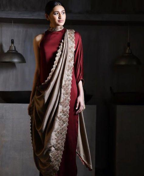 Beautiful saree style draped dress.