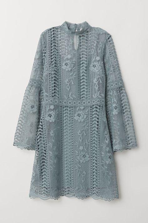 H&M Lace Dress - Turquoise Lace Dress - Blue-gray - Ladies