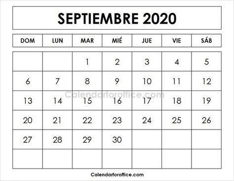 September 2020 Calendar Spanish Calendar Template Calendar