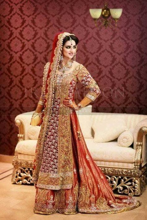 Asian Bridal Dress 2019 - Paksitani Beautiful Red Color Embelishment With Pure Dabka Zari Nagh Pearl