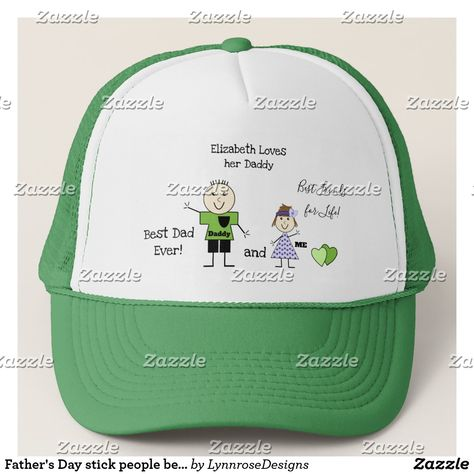 b98bdea7cbd Father s Day stick people best dad ever Trucker Hat Personalize this baseball  hat with a name. A gift for Daddy from his little girl