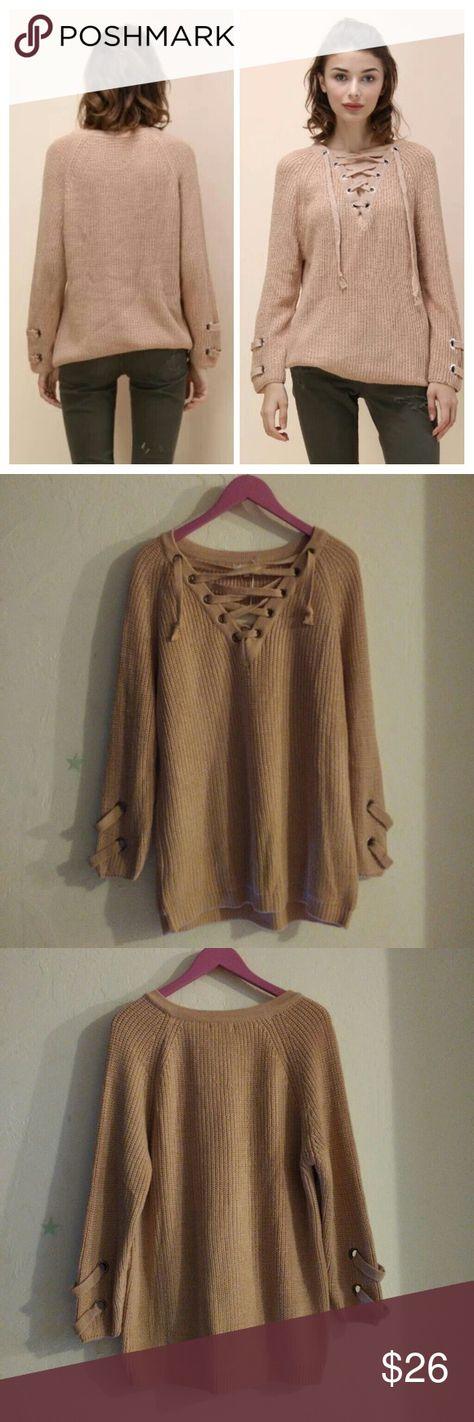 76a278ce05 Miracle USA Lace up sweater Miracle USA Lace up tonic sweater Size M L  Armpit to pit laying flat approx 23