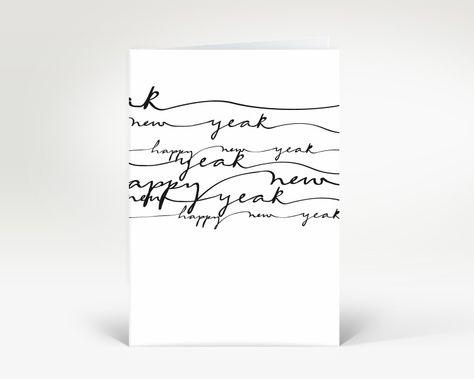 Neujahrskarte Schwarz geschwungene Lettern   Designer-Neujahrskarte DK263