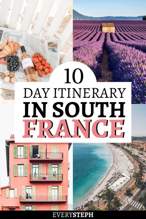 With its rustic countryside, wine regions, and scenic beaches, it's hard not to fall in love with the South of France. The perfect South France itinerary includes the French Riviera with its glitzy towns, the lavender fields of Provence, and the mountains of Languedoc. Check out this ultra-detailed 10-day itinerary to plan the perfect South France road trip. #southfrance #roadtrip #itinerary #cannes #nice #sainttropez #lavenderfields #provence #frenchriviera #languedoc