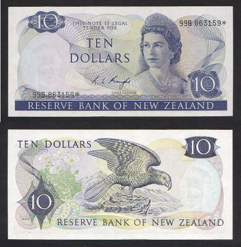 Old New Zealand Ten Dollar Note front & back