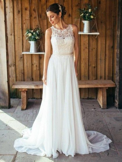 $208.99 Nice A-line Scoop Neck Chiffon Sweep Train Appliques Lace White Wedding Dresses #Milly00022561 - MillyBridal#aline #appliques #chiffon #dresses #lace #milly00022561 #millybridal #neck #nice #scoop #sweep #train #wedding #white