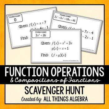 Function Operations And Compositions Scavenger Hunt This Scavenger Hunt Activity Consists Of 20 Problems In Which Stu Functions Algebra Algebra Algebra Teacher