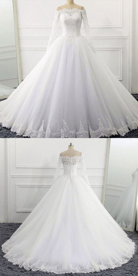 Long Sleeve Wedding, Wedding Dress Sleeves, Long Wedding Dresses, Princess Wedding Dresses, Bridal Dresses, Frozen Wedding Dress, Winter Wedding Dress Ballgown, Beauty And The Beast Wedding Dresses, Disney Inspired Wedding Dresses