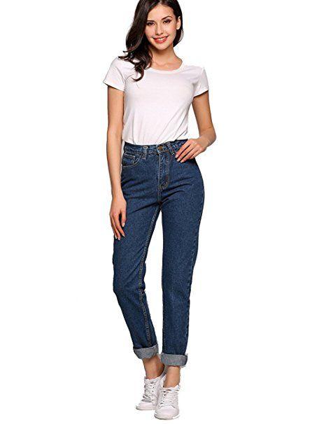 Jeans Damen Jeans Hose Jeanshose Übergröße Gerades Bein