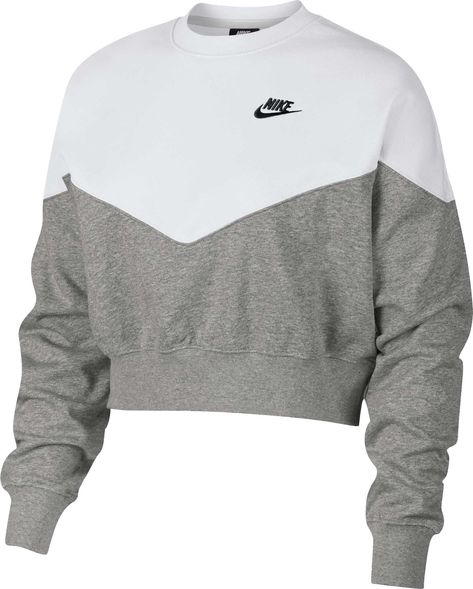 Nike Fleece Colorblocked Cropped Sweatshirt - Gray XL Source by daliyahgrosse clothes