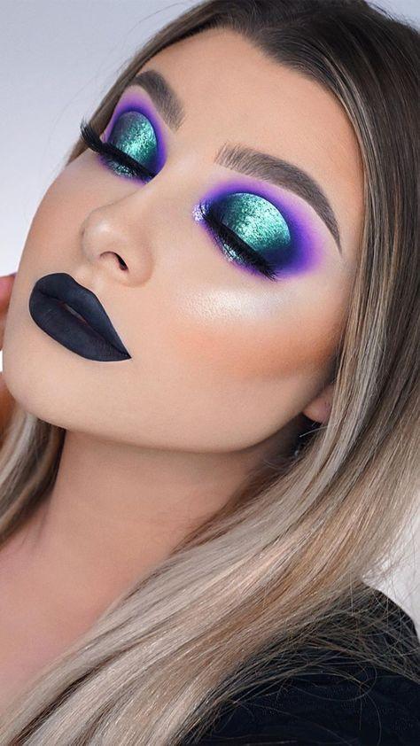 Blue, Purple & Green Eyes Makeup Look Idea Tutorial