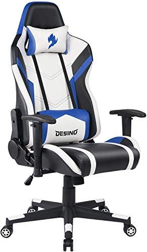 New Desino Gaming Chair Racing Style Ergonomic Swivel Rolling Computer Chair Video Game Desk Chair Headrest Adjustable Lumbar Support Adults Blue Online In 2020 Computer Chair Gaming Chair Headrest