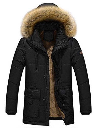huge selection of fb0a5 7a0d0 Herren-Warme-Winterjacke-Parka-Jacke-mit-Fell-Wintermantel ...