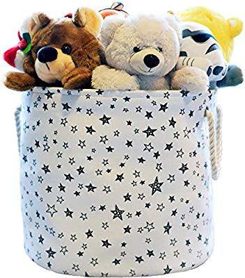 Amazon Com Large Eco Friendly Canvas Toy Storage Baskets Storage Bins Nursery Bins With Handl Canvas Toy Storage Toy Storage Baskets Toy Storage Organization