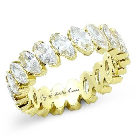 A perfect 14K Gold3TCW MarquiseCut Russian Lab Diamond Wedding Band or Eternity Ring.  Free Shipping Worldwide Ring Box Ships 1-3 Business days Easy exchanges/returns Russian lab diamonds are grown by a proprietary process that recreates the miracle of nature. Like mined diamonds, our grown diamonds are faceted and