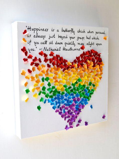 NEUE INSPIRIERENDE QUOTE - 3D Schmetterling Herz mit Ihrem Lieblings-Zitat / 3D Regenbogen Schmetterling Kunst / Kinderzimmer Dekor / einzigartige Hochzeit Geschenk