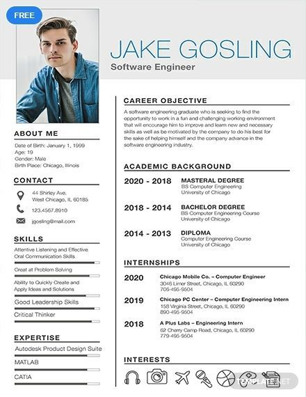 Download This Free Resume Template For Entry Level Software Engineer Applicants Easy To Free Resume Template Word Student Resume Template Resume Template Word