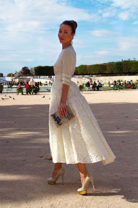 Long lace skirt + tucked in sweater. could do with black lace skirt and sweater
