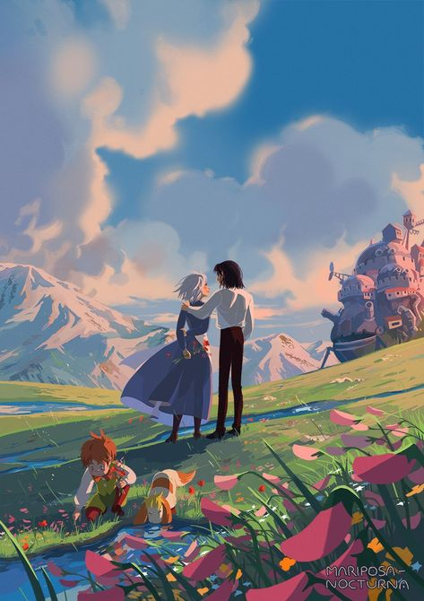 Howl's Moving Castle (ハウルの動く城) Studio Ghibli (Hayao Miyazaki) Anime Movie Book Howl x Sophie et Sophie - Illustration - Fanart - Studio Ghibli - Studio Ghibli Art, Studio Ghibli Movies, Studio Ghibli Quotes, Totoro, Personajes Studio Ghibli, Howl And Sophie, Fantasy Magic, Anime Scenery Wallpaper, Hayao Miyazaki