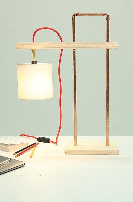 Fabriquer Une Lampe Design Avec Du Cuivre Et Du Bois Lampe Design Lampe De Table Moderne Lampe Cuivre