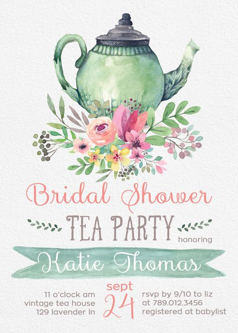 Tea Party Bridal Shower Invitations, Wedding Shower Invite Printable, Tea Pot, Florals, Watercolor, Bride Luncheon, Fall Bridal Shower  Invite your guests to tea with this watercolor invite.  PLEASE NOTE: This item is a DIGITAL FILE. You are purchasing a digital file only. No physical item will be shipped. No printed materials are included.  Upon placing your order, a jpeg file will be emailed to the email address you have registered with Etsy. Please check Shipping & Policies for current tur...