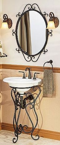 Bathroom Pedestal Sinks Wrought Iron Stands For Powder Room Or Guest Bath At Reduced Prices