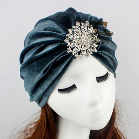 226c19edf03 New fashion Indian Style Velvet Flapper jeweled brooch Swomen Turban  Headband Ear Warmer Hat G-
