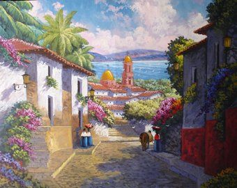 Mexican Village Watercolor Yahoo Image Search Results