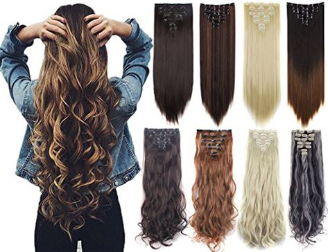 Days Delivery 16 Clips Inch Real Thick Curly Straight Full Head Clip in on Double Weft Hair Extensions 20 Colors