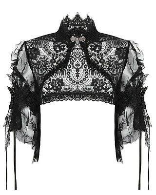Dark In Love Womens Gothic Cape Black Lace Shrug Shawl Steampunk VTG Victorian