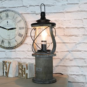 Antique Wooden Miners Lantern Style Table Lamp Rustic Table