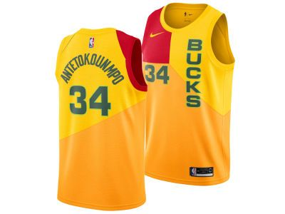 e26c6c2b5 Men s Milwaukee Bucks Giannis Antetokounmpo Nike Yellow City Edition Swingman  Jersey